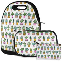 Cactus Doodle Color Mint Pink Repeat Pattern Lunch Snack Set