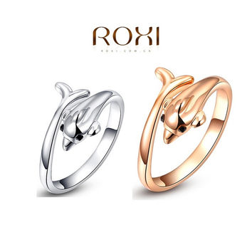 ROXI Personalized 18K Gold Plated Dolphins Ring Elegant  Wedding & Engagement Ring Fashion Environmental Jewelry = 1958071492