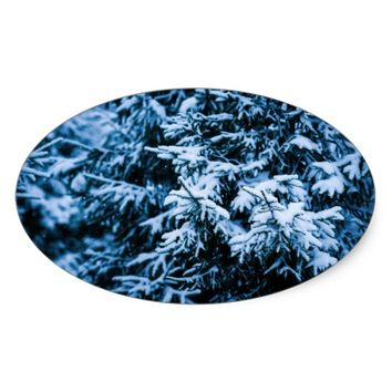 Snowfall Winter Christmas Tree Oval Sticker