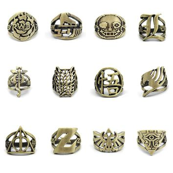 Hot Anime Dragon Ball Z Yu Gi Oh Logo Fullmetal Alchemist Finger dota 2 finger Ring