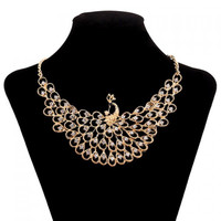 Brilliant Rhinestone Peacock Necklace