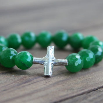 Sideways Cross Bracelet, Faceted Green Jade, Stretch, Beaded, Textured Sterling Silver Artisan Cross, OOAK