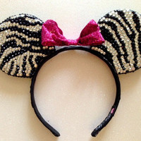 Zebra Rhinestone Minnie Mouse Ears