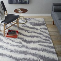 Diffused Zebra Printed Wool Rug