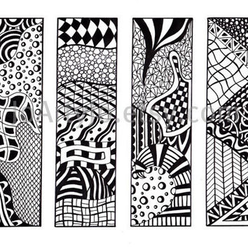 Zentangle Bookmarks Printable Bookmarks Black and by JoArtyJo