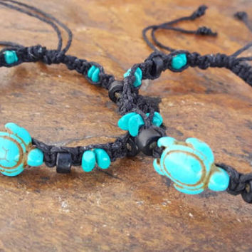 Hemp Bracelet Set, Adjustable, Sea Turtle Bracelets, Turquoise Howlite, Gift, Friendship Bracelets, Turtle Hemp Bracelet, Hemp Jewelry, Hemp