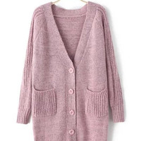 Pink Long Button Front Knit Cardigan