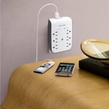 Belkin Wall-Mountable 6-Outlet Surge Protector with USB Charging Ports