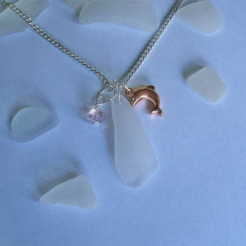 Sea glass necklace. Dolphin necklace Beach glass jewelry.