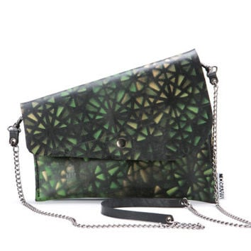SALE Woman clutch bag, Crossbody purse, Recycled , Printed clutch in green and black