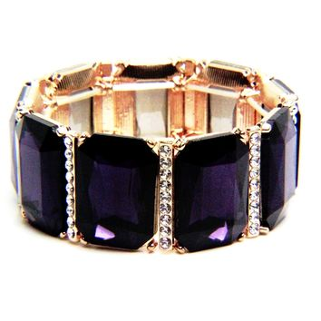 Crystal Rectangle Stretch Bracelet