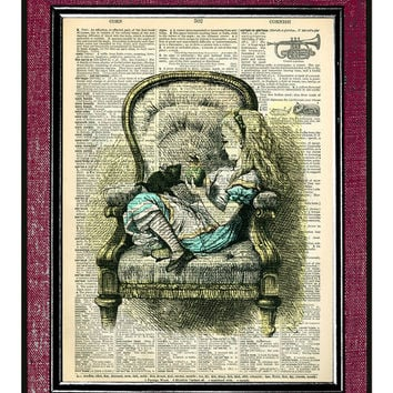 Alice In Wonderland Book Print Dictionary Page Print Dictionary Art Print Kids Wall Art Nursery Art Gift ALICE In An ARMCHAIR