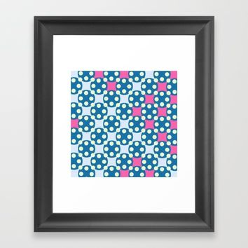 Green Pink Dots Pattern Framed Art Print by oursunnycdays
