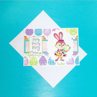 Easter Card And Envelope in Eggs And Bunny