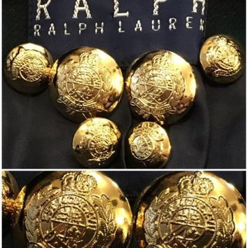 RALPH LAUREN Gold Metal Blazer Coat Replacement Buttons Set 6pc Crest Design
