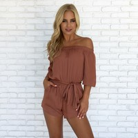 Bronzed Beauty Romper in Rust