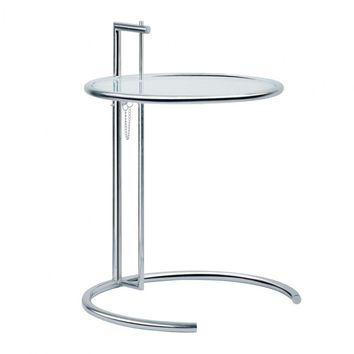 Eileen Adjustable Height End Table Chrome Glass Top