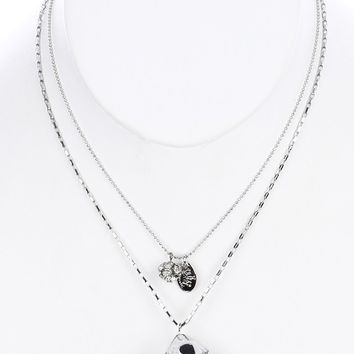 Double Layered Chain Dice Charm Bib Necklace
