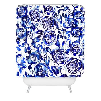 Holly Sharpe Painted Blue Shower Curtain