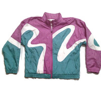80's Adidas Windbreaker / 1980's Track Jacket / Three Stripes / Trefoil / Purple & Teal Tennis Jacket / Women's Vintage / Medium M Med 40 42