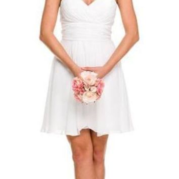 Short Chiffon Bridesmaid White Dress Sweetheart Neck Corset Back