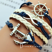 Christmas Gift, Rudder Infinity Anchor Bracelet, Navy wax Cords, Navy Rudder, White Braided leather cords, Blue Style = 1932401092