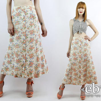 Vintage 90s Cream Floral High Waisted Skirt Floral Maxi Skirt S M High Waist Skirt Cream Skirt Summer Skirt Floral Midi Skirt