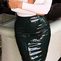 Black High Waist Zip Back Leather Look Skirt