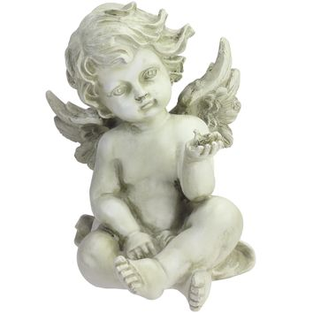 "7.75"" Light Olive Green Cherub Angel with Baby Bird Outdoor Garden Figure"