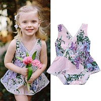 Baby Girls Rompers Floral Newborn Baby Girl Kids Sleeveless Flower Romper Jumpsuit Cotton Sunsuit Outfits