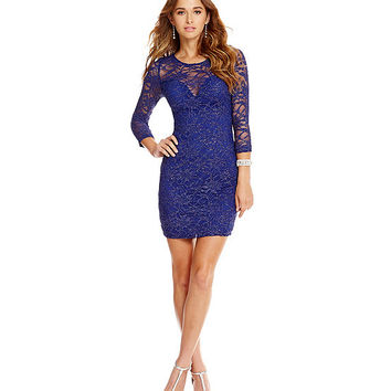 Honey and Rosie Glitter Lace Illusion Back Dress | Dillards