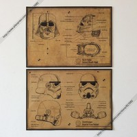 Vintage Posters Star Wars Darth Vader \ White Soldiers Helmet Mask Drawings Wall Hanging Painting Stickers Kraft Paper Painting