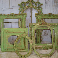 Hand painted ornate frame grouping apple green touches of gold distressed wall decor ooak Anita Spero