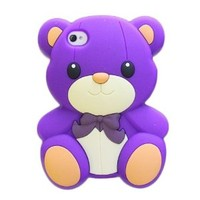New Cute 3D Teddy Bear Back Soft rubber Skin Case Cover For Apple iphone4/4s purple