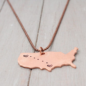 State to State Necklace, Long Distance Love Necklace, Stamped Necklace, Personalised Jewelry,  Handstamped Jewelry, Personalized Jewelry