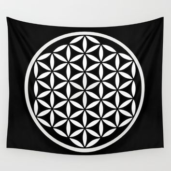 Flower of Life Yin Yang Wall Tapestry by Azima