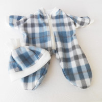 "Bitty Baby Clothes Handmade for Twin Boy, Girl or Baby Doll Doll 15"" Polar Fleece Zip Up Pajamas Pj Sleeper Blue Grey Plaid Hat Cap 2 pc"