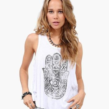 Sexy Summer Women Tank Top Back Split Tops Print White Plus Size Shirt Women Tops Blusas Femininas Women 2015 Camisetas
