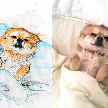 Custom dog drawing, an animal portrait for pet home decor or animal memorial gift for death of a pet custom dog sketch from stephanieb