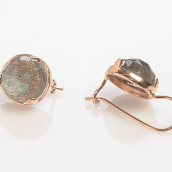 Round Labradorite Drop Earrings in 14K Rose Gold Wire back with hook and lever