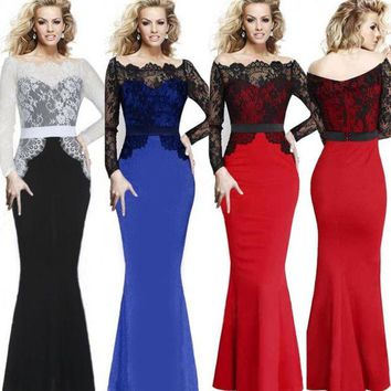 DCCKIX3 Women Elegant Lace Patchwork Evening Party Long Mermaid Maxi Dress = 1931800644
