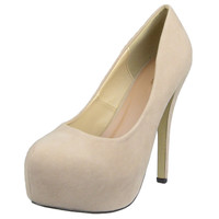 Womens Platform Sandals Closed Toe High Heel Stiletto Pumps Nude SZ