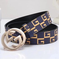 GUCCI Woman Men Fashion Smooth Buckle Belt Leather Belt-13