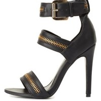 Zipper Embellished Strappy Heels by Charlotte Russe