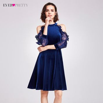Sexy Halter Cocktail Party Dresses Ever Pretty AS05896 Elegant Velvet Ruffles Lace Sleeves Dresses 2017 Classical Cocktail Dress