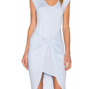 Blue Twist Ruched Asymmetric Hem Sleeveless Dress