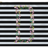 Personalized Zippered Pouch, Accessory Bag - Floral Initial and Horizontal Lines