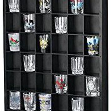 36 Slots Shot Glass Curio / Miniature Collectibles Wall Display Cabinet, No Door, MH37-BLACK