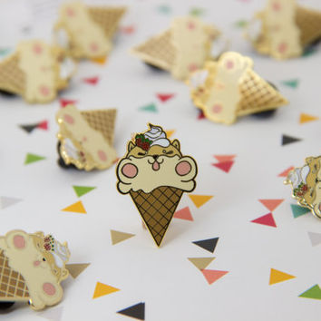 Shib Cream, Shiba Inu Puppy Ice Cream Enamel Pin