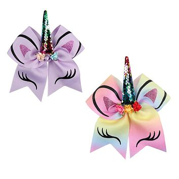 """7"""" Sequin Cheer Bows for Girls Glitter Printed Hair Bow with Floral Sequin Horn Elastic Band Hair Tie Hair Accessories"""